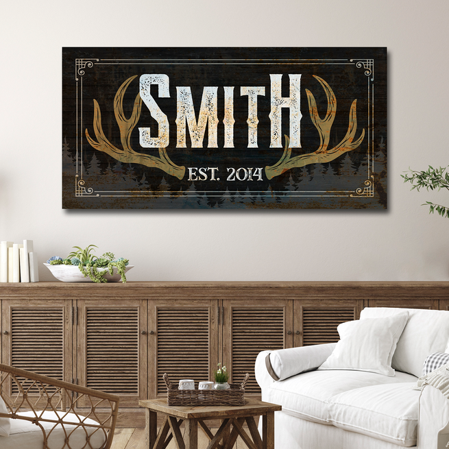 Rustic Family Antler - Personalized Huge Canvas
