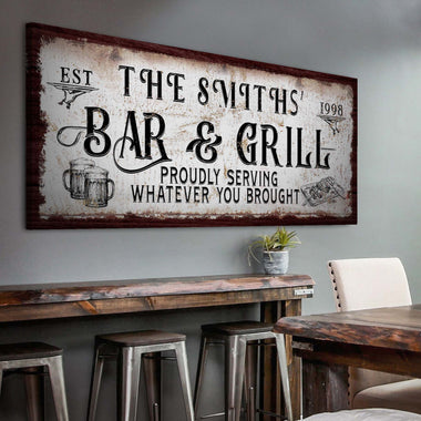 Bar & Grill (READY TO HANG) - Free Shipping