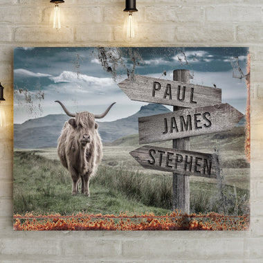 Names Sign Highland Cattle - Personalized Premium Canvas