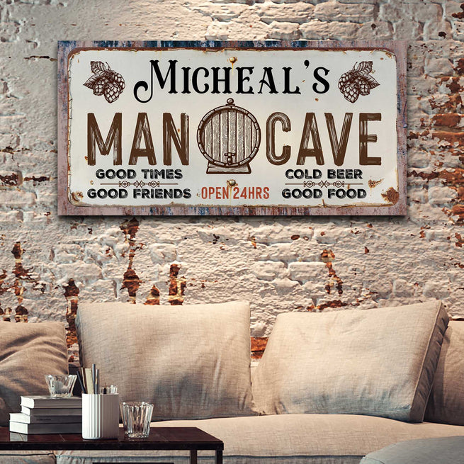 Man Cave Sign - Personalized Huge Canvas