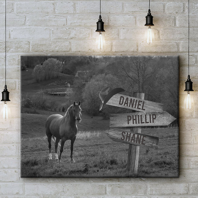 Horse Family Sign - Personalized Premium Canvas