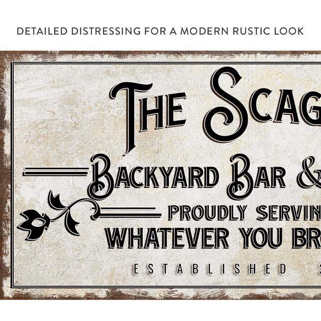 Backyard Bar & Grill - Personalized Huge Canvas