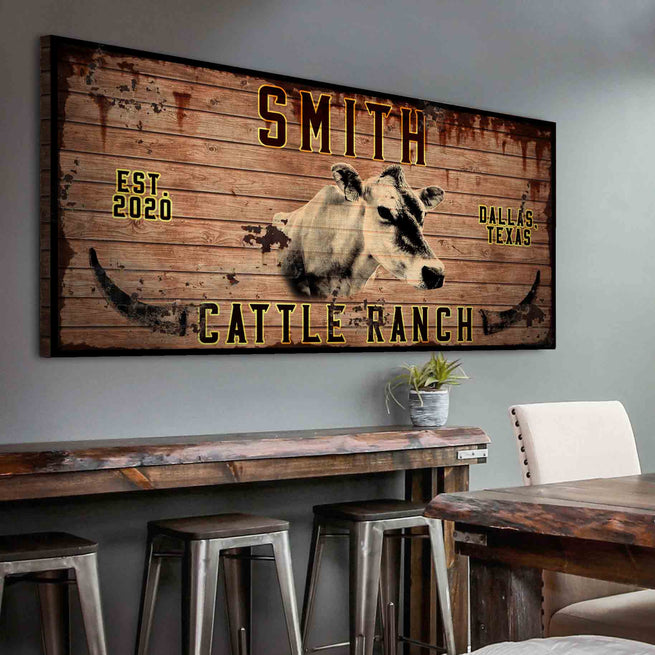 Cattle Ranch - Personalized Huge Canvas