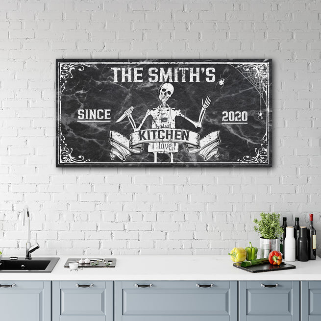 Gothic Kitchen Sign - Personalized Huge Canvas
