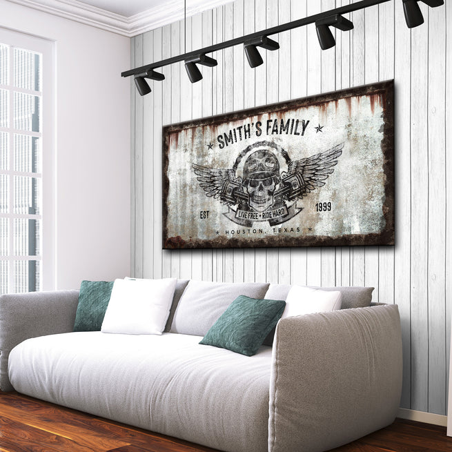 Live Free Ride Hard - Personalized Huge Canvas
