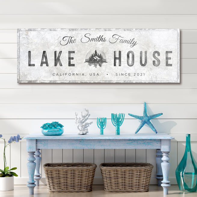 Family Lake House Sign - Personalized Huge Canvas