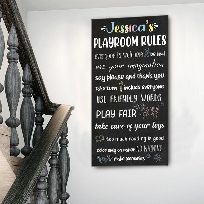 Playroom Rules  - Personalized Huge Canvas