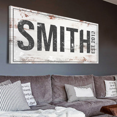 Rustic Family Sign - Personalized Huge Canvas