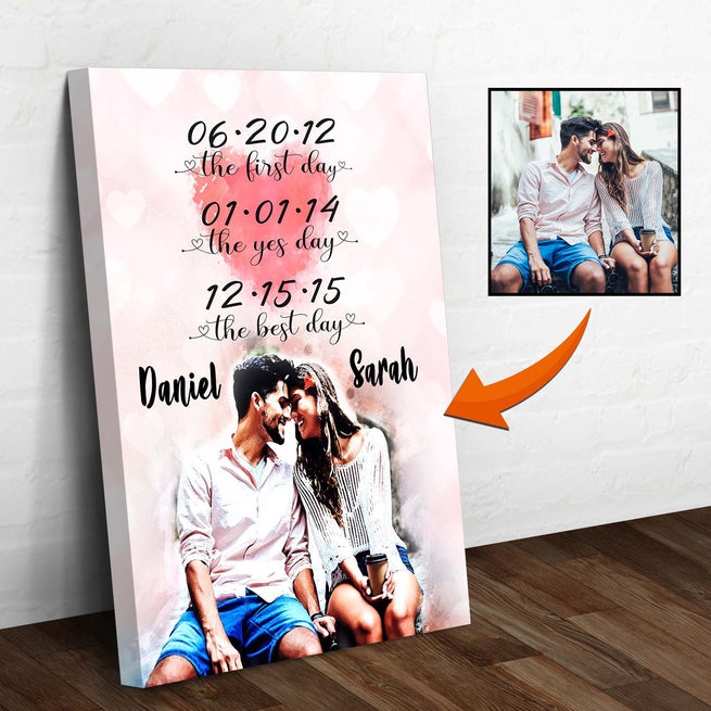 Couple Watercolor Canvas - Valentine Day Gift