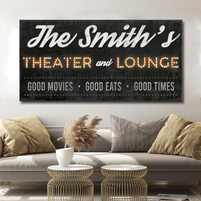 Family Theater and Lounge - Personalized Family Huge Canvas