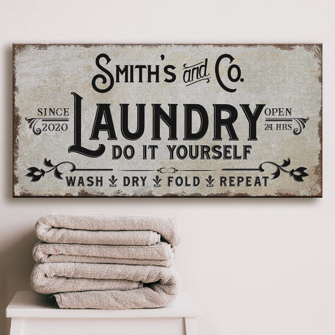 Laundry Room Sign - Personalized Family Huge Canvas