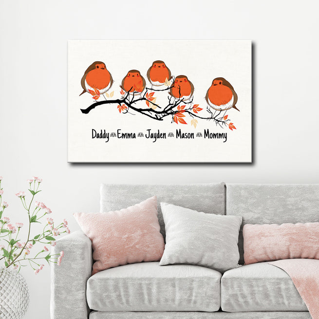 Perched Flock Family - Personalized Premium Canvas