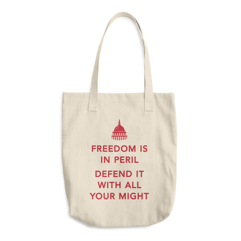 Freedom in Peril Cotton Tote Bag (red)