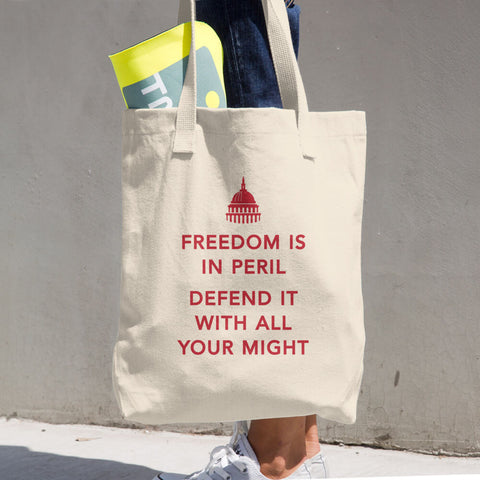 Freedom in Peril - Cotton Tote Bag (red)