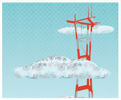 Sutro Tower and Bikes art print