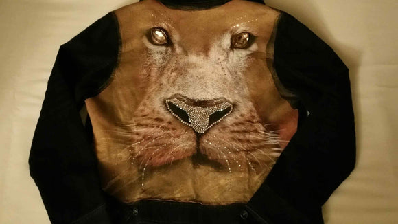 Custom Crystal Lion Print Jacket