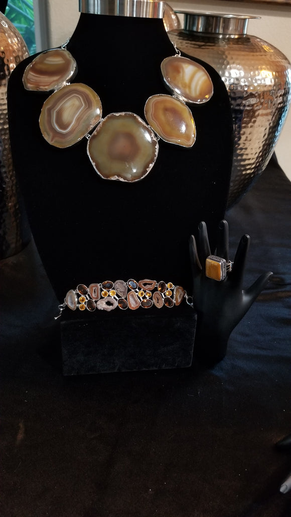 Beautiful Brown Agate Necklace Set
