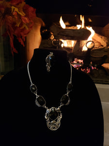 Precious Onyx and Silver 2pc Set