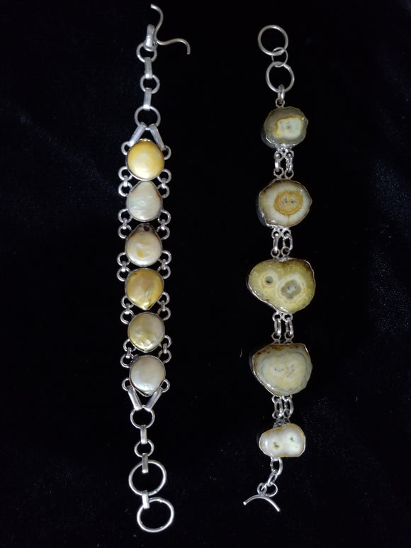 Lovely Yellow Tone and Pearl Bracelet