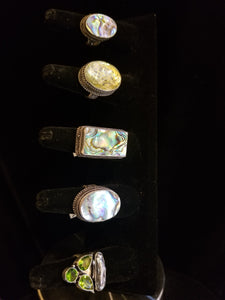 Distinguished Abalone Gemstone Rings
