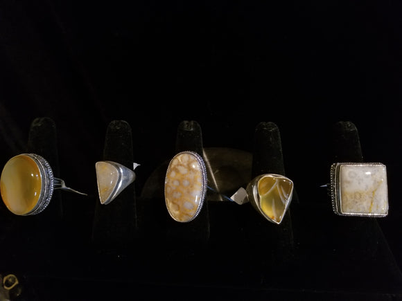 Golden Tone Gemstone Rings