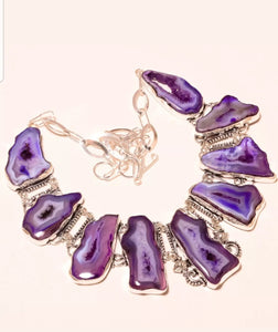 Purple Agate Vintage Style Necklace