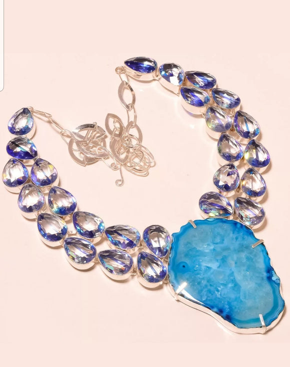 Handmade Blue Topaz Gemstone Necklace Set