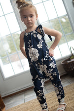 Jumpsuit long fleuri marine