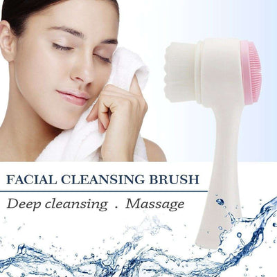 Compact Double-Sided Facial Cleaning Brush