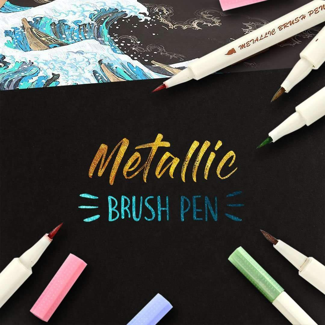 Metallic Brush Pens - 10pcs