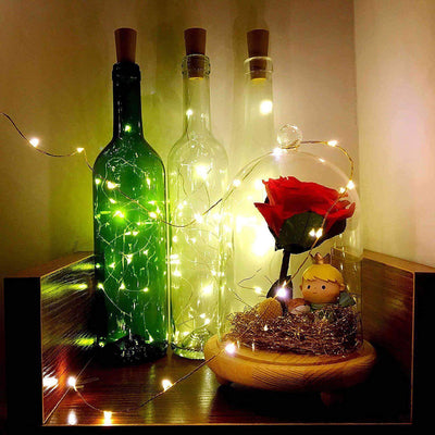 DIY LED cork wine bottle light