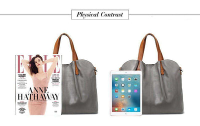 2 In 1 Faux Leather Shopper Tote Bag