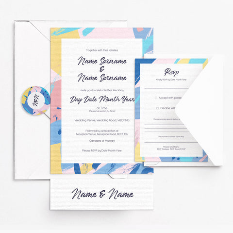 Abstract Pink Invitation Set