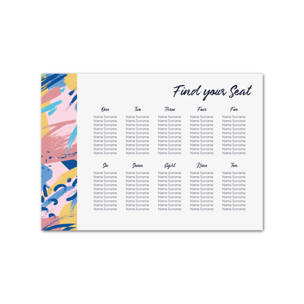 Abstract Pink Table Plan