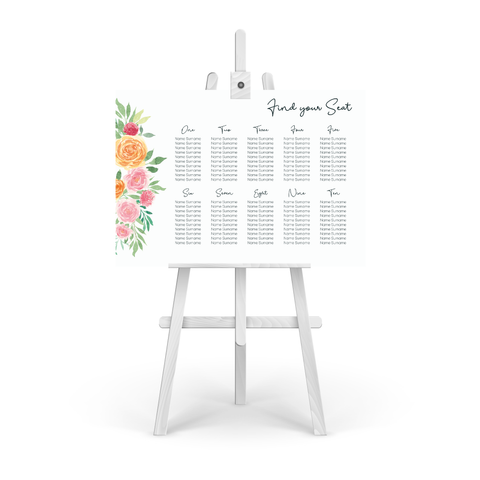 Blush Floral Table Plan