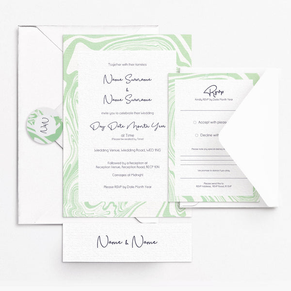 Marbleous Green Invitation Set