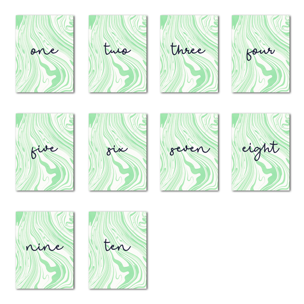 Marbleous Green Table Numbers