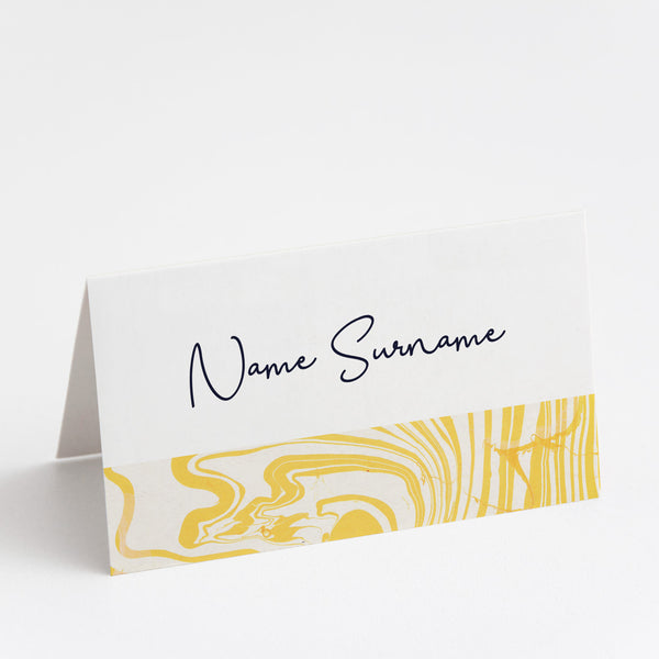 Marbleous Yellow Place Cards
