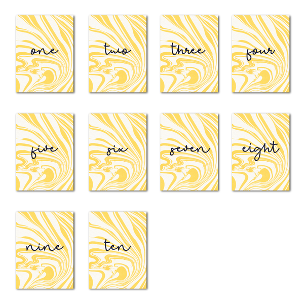 Marbleous Yellow Table Numbers