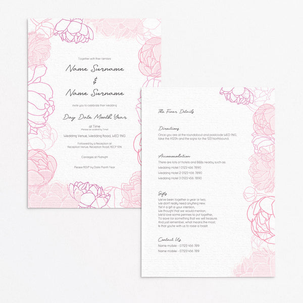 Pink Peonies Invitation Set