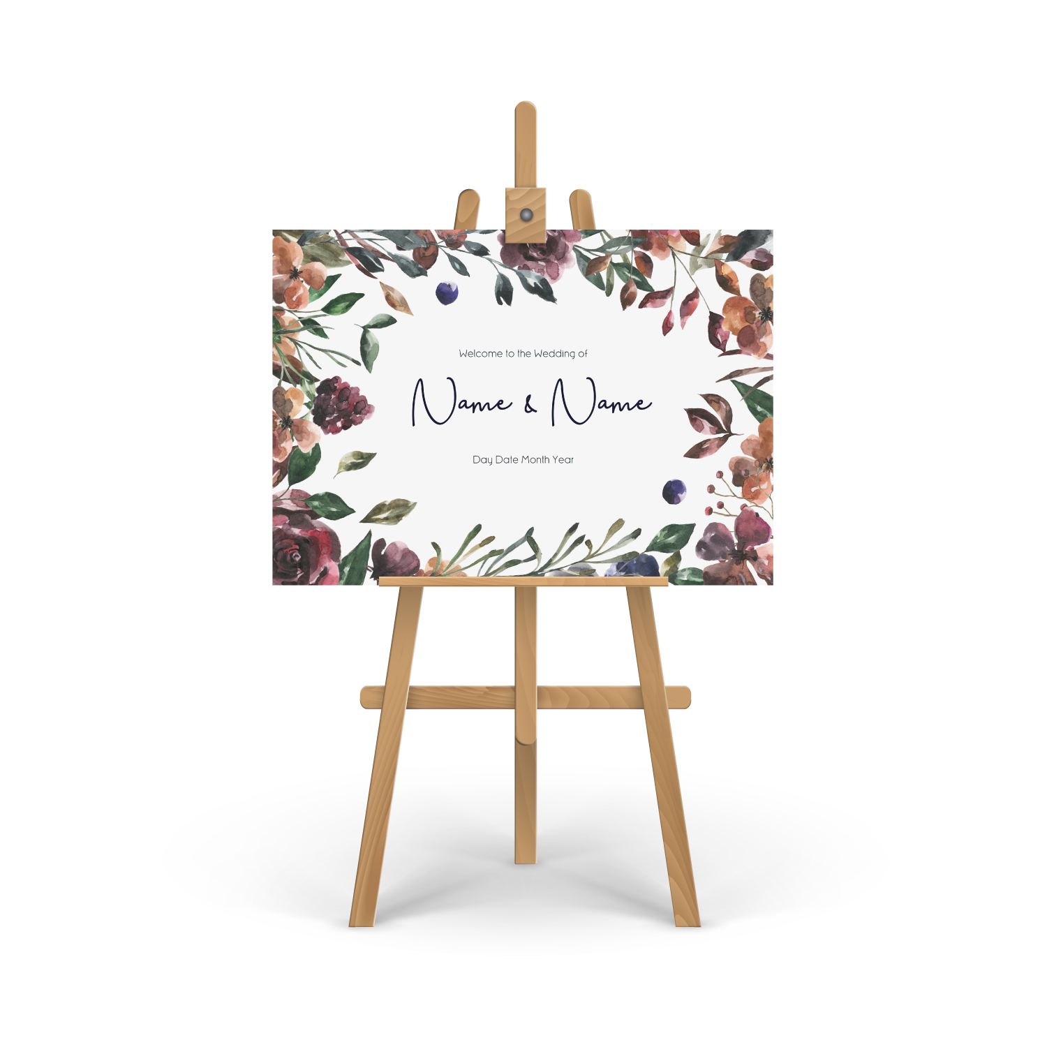 Rustic Floral Welcome Sign