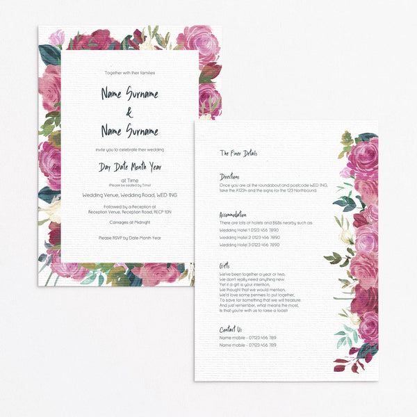 Sarah Floral Invitation Set
