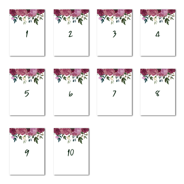 Sarah Floral Table Numbers