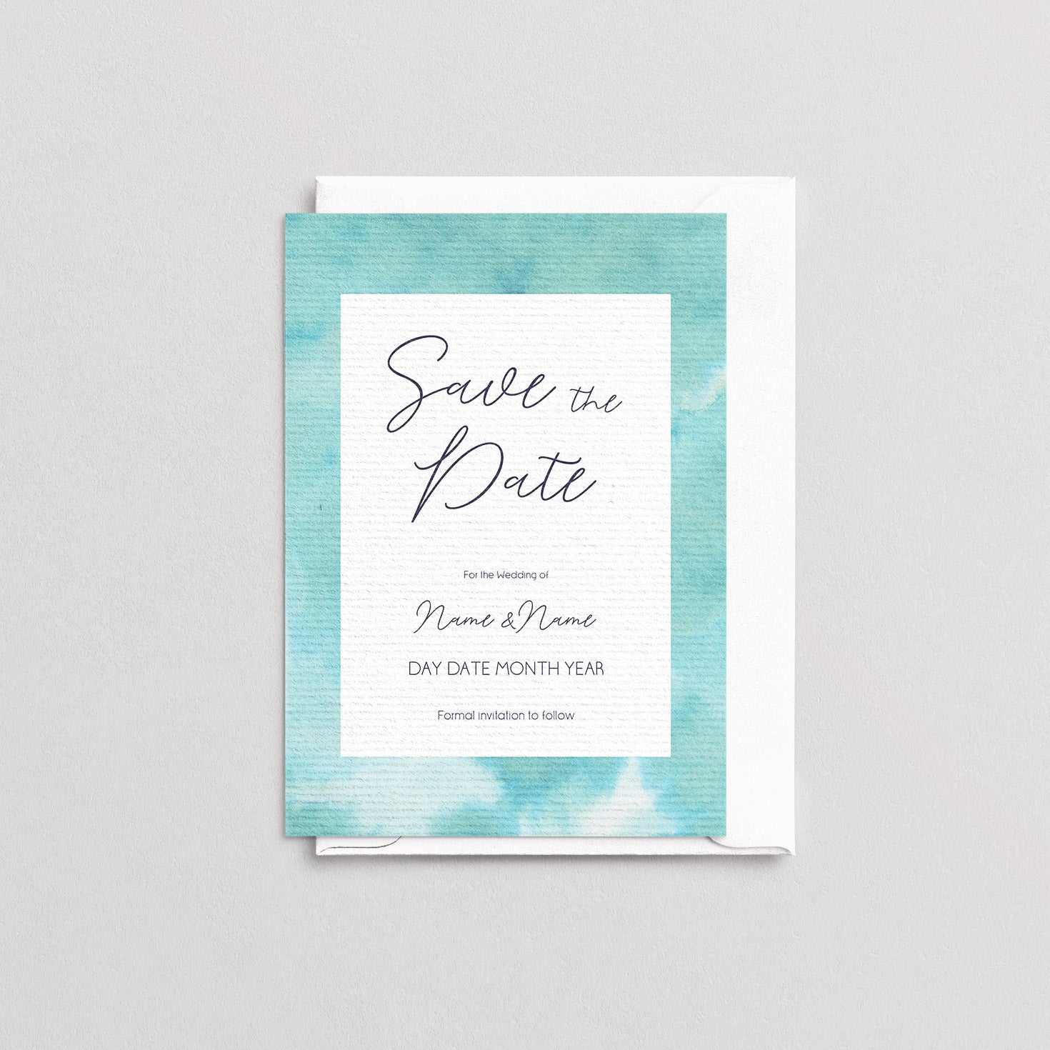 Watercolour Green Save The Date