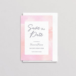 Watercolour Pink Save The Date