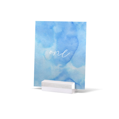Watercolour Blue Table Numbers
