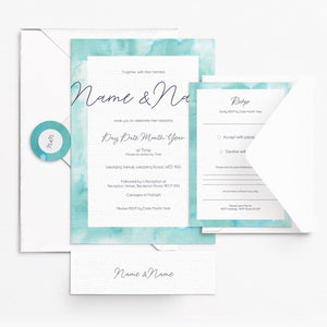 Watercolour Green Invitation Set