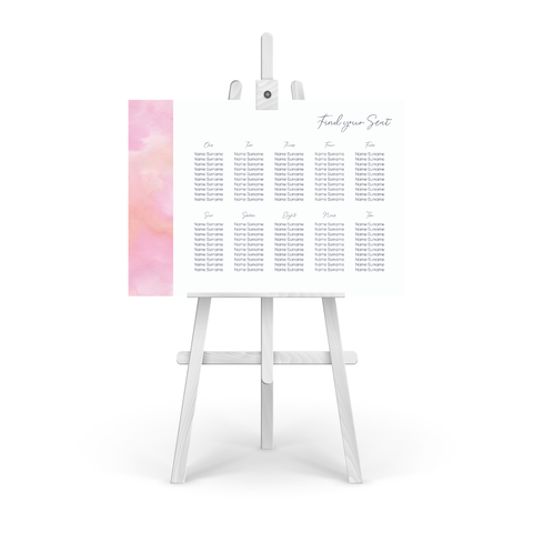 Watercolour Pink Table Plan