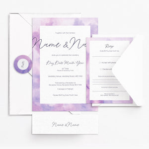 Watercolour Purple Invitation Set