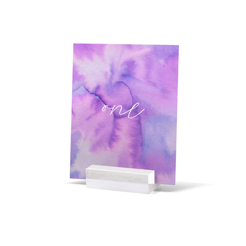 Watercolour Purple Table Numbers